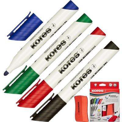 Набор маркеров для досок KORES губкой, 3мм 4шт/уп