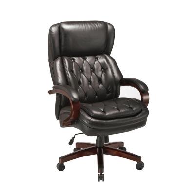 Кресло руководителя Echair-427 TL черное (кожа/массив дерева)