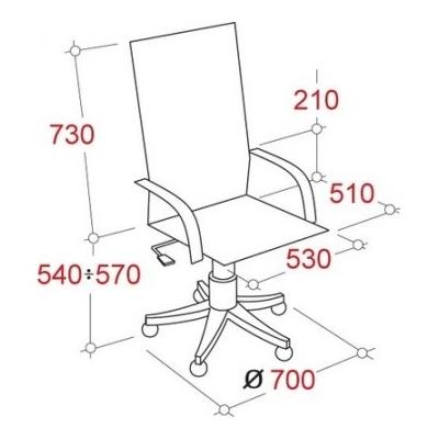 Кресло руководителя DB-13 черное (кожа/темный орех)