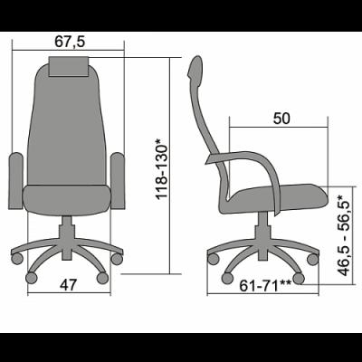 Кресло руководителя Metta BK-10 Ch ткань-сетка