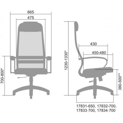 Кресло руководителя Metta BP-8 Pl ткань-сетка
