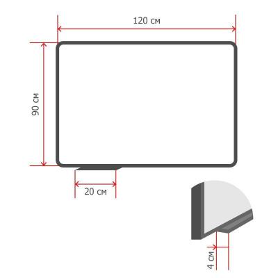 Доска стеклянная 90x120 см магнитно-маркерная Attache белая