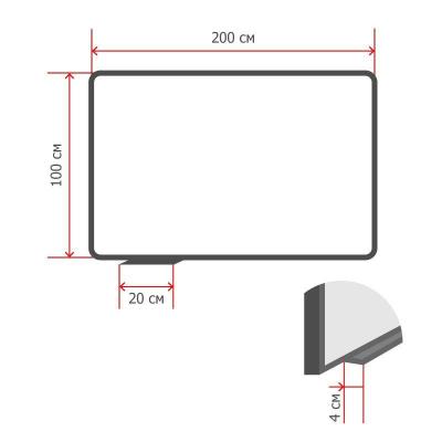 Доска стеклянная 100x200 см магнитно-маркерная Attache белая
