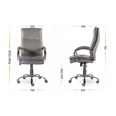 Кресло руководителя Куба M-701 хром (серый) экокожа